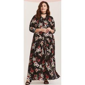 torrid Dresses - Torrid Floral Challis Maxi Shirt Dress Size 1